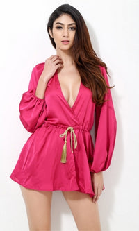 Mysteries Of The Orient Bright Pink Gold Long Sleeve Cross Wrap V Neck Tassel Tie Waist Romper Playsuit -  Sold Out