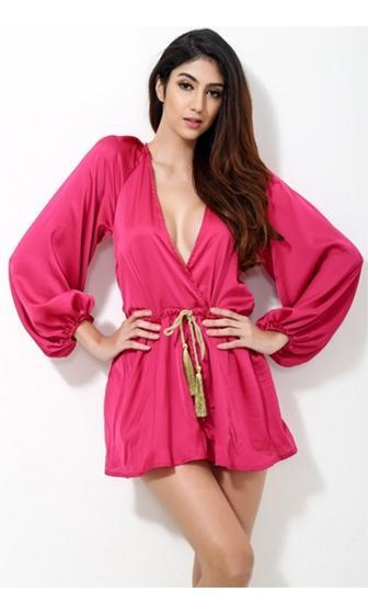 d1f9ad96ff5e Mysteries Of The Orient Bright Pink Gold Long Sleeve Cross Wrap V Neck  Tassel Tie Waist