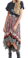 Gone On Tour Pink Red Black White Grey Floral Loose Asymmetric Midi Skirt - Sold Out