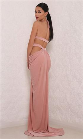 Downtown Gala Pink Sleeveless Plunge V Neck Ruched Cut Out Backless Halter Slit Maxi Dress - Sold Out