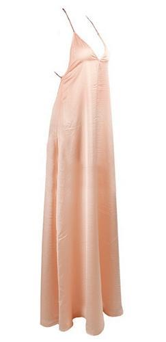 Chains for Your Love Silky Light Pink V Neck Open Strap Backless Maxi Dress - Sold Out
