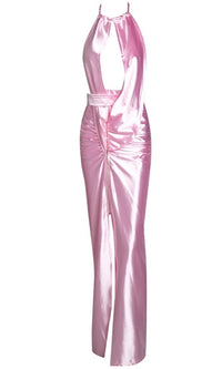 Shine Like A Star Pink Satin Sleeveless Halter Cut Out Front Backless Twist Ruched Maxi Dress - Sold Out