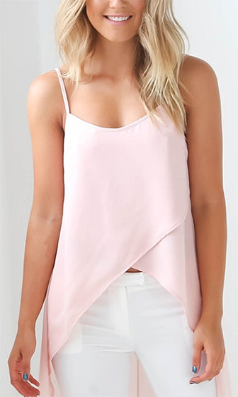 No Regrets Pink Spaghetti Strap Scoop Neck Cross Wrap Chiffon High Low Tank Top - Sold out