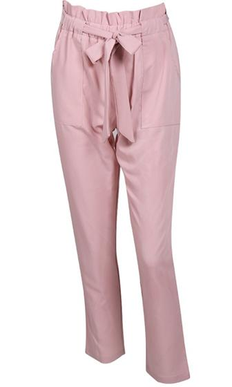 Curtain Call Light Pink Gathered Fold High Waist Tie Belt Pants