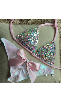 Fabulous Life Pink Jeweled Crystal Rhinestone Triangle Top Bow Accent Brazilian Cut Two Piece Bikini Swimsuit - Sold Out