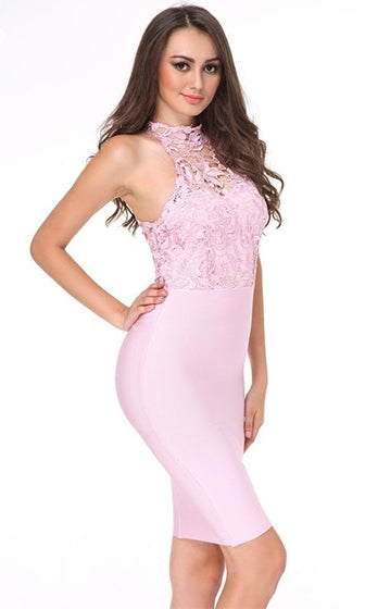 Love Me Tender Pink Lace Sleeveless Mock Neck Halter Bodycon Bandage Midi Dress - Sold Out