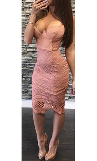 Squad Goals Pink Lace Spaghetti Strap Bustier Plunge V Neck Scallop Bodycon Midi Dress - Sold Out