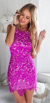 Say You Will Fuchsia Pink Scallop Lace Spaghetti Strap Scoop Neck Halter Open Back Bodycon Mini Dress - Sold Out