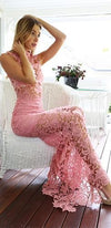 Cassandra's Dream Pink Sheer Lace Funnel Neck Zip Back Sexy Bodycon Maxi Dress - Sold Out