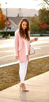 Pink Long Sleeve Flap Pocket 3/4 Length Blazer Jacket - Sold Out
