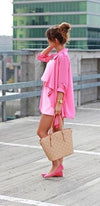Loosen Up Bubblegum Pink 3/4 Sleeve Asymmetric Wide Lapel Open Front Sash Blazer Jacket - Sold Out
