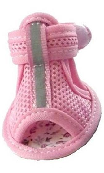 MESH REFLECTIVE DOG SANDALS - PINK SIZE XS