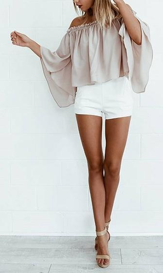 French Rose Blush Pink Long Bell Sleeve Elastic Off The Shoulder Swing Chiffon Blouse - Sold out