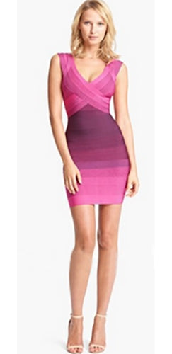 Pink Burgundy Wine Purple Ombre Gradient Sleeveless Cross Wrap V Neck Bodycon Bandage Mini Dress
