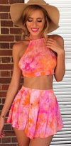 Good Day Sunshine Pink Orange White Purple Tie Dye Spaghetti Strap Crop Halter Tank Pleated Shorts Two Piece Romper - Sold Out