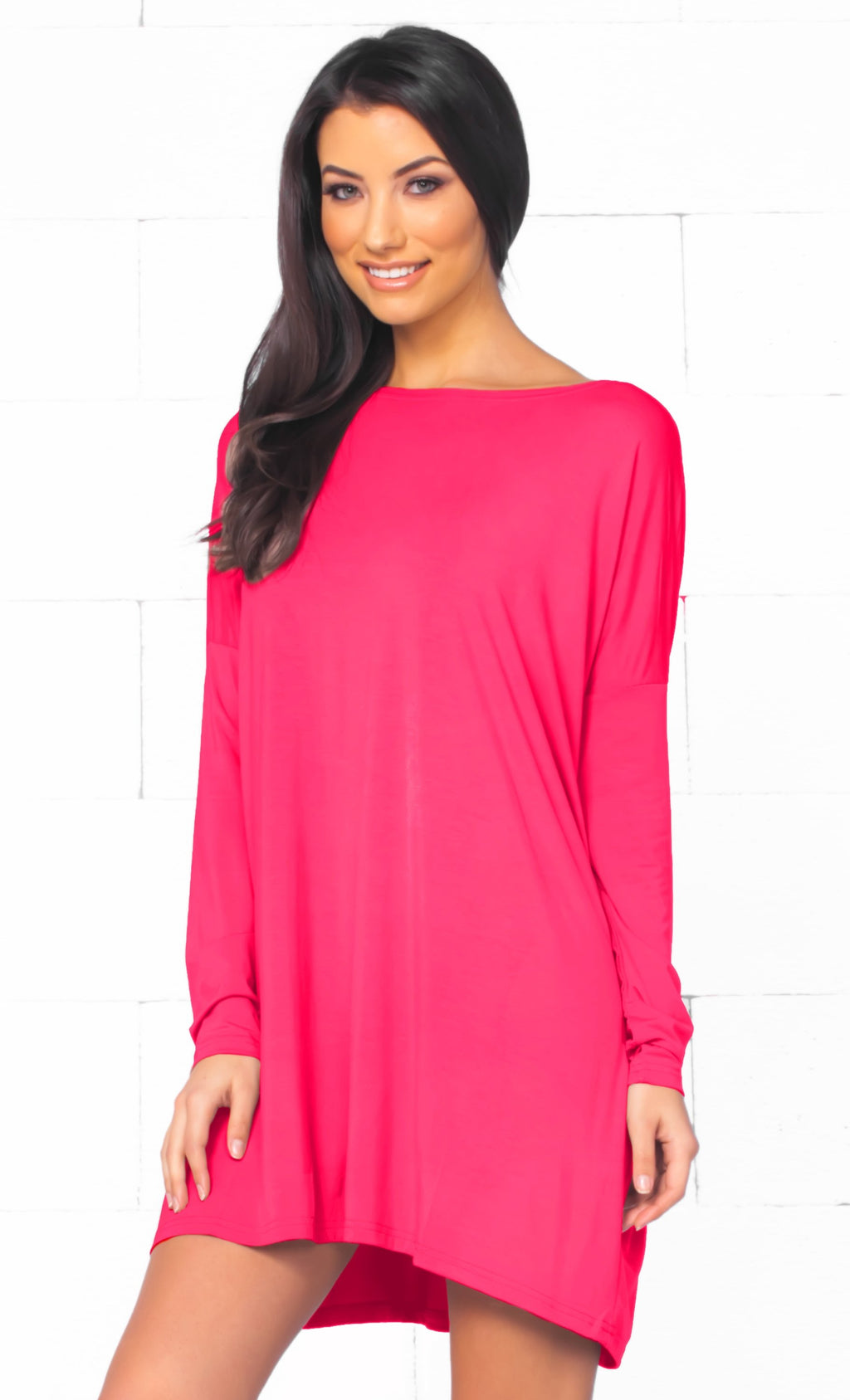 Piko 1988 Fuchsia Pink Long Sleeve Scoop Neck Piko Bamboo Oversized Basic Tunic Tee Shirt Mini Dress