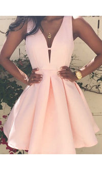 Bound To You Pink Sleeveless V Neck Pleated Skater Circle A Line Flare Mini Dress - Sold Out
