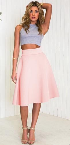 Pink High Waist Pleated Circle A Line Flare Midi Skirt - Sold Out
