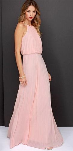 a559a0fed618f8 Pink Sleeveless Scoop Neck Halter Pleated Elastic Waist Loose Maxi Dress -  Sold Out