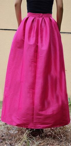 Pink High Waist Pleated A Line Flare Midi Skirt - Sold Out