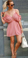 Pink Pleated Ruffle Spaghetti Strap V Neck Cut Out Shoulder Elastic Waist Short Romper - Sold out