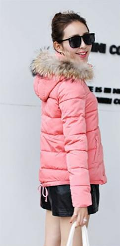 Pink Beige Long Sleeve Horizontal Quilt Faux Fur Trim Hooded Zip Front Puffer Coat - Sold Out