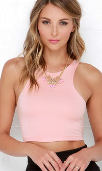 City Sounds Pink Sleeveless Scoop Neck Racerback Crop Tank Top - Sold out