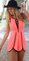 Pink Black Sleeveless Halter Scoop Cut Out V Neck Racerback Short Romper - Sold Out