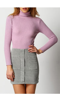 Ready To Roll Pink Long Sleeve Turtleneck Rib Knit Pullover Sweater - Sold Out
