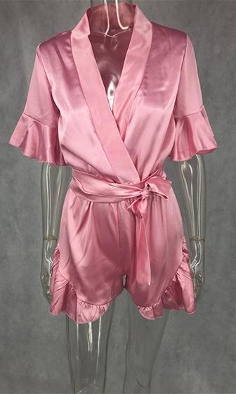 Electric Playground Pink Silky Short Sleeve Ruffle Trim Cross Wrap V Neck Tie Waist Romper Playsuit