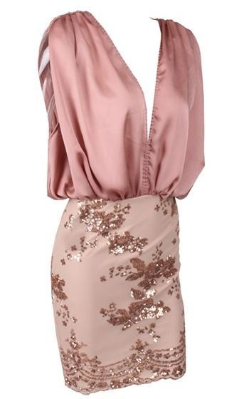 First Chance Pink Beige Gold Sleeveless Plunge V Neck Blouson Floral Sequin Midi Dress