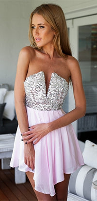 Pink Silver Sequin Strapless Plunge V Neck Chiffon Pleated Short Romper - Sold Out