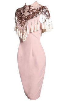Love You More Pink Brown White Short Sleeve Mock Neck Sequin Tassel Fringe Bodycon Midi Dress - Sold Out