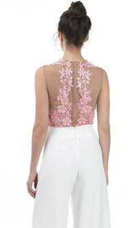 Ring My Bell Pink Nude Sleeveless Scoop Neck Sheer Mesh Lace Bodysuit -  Sold Out