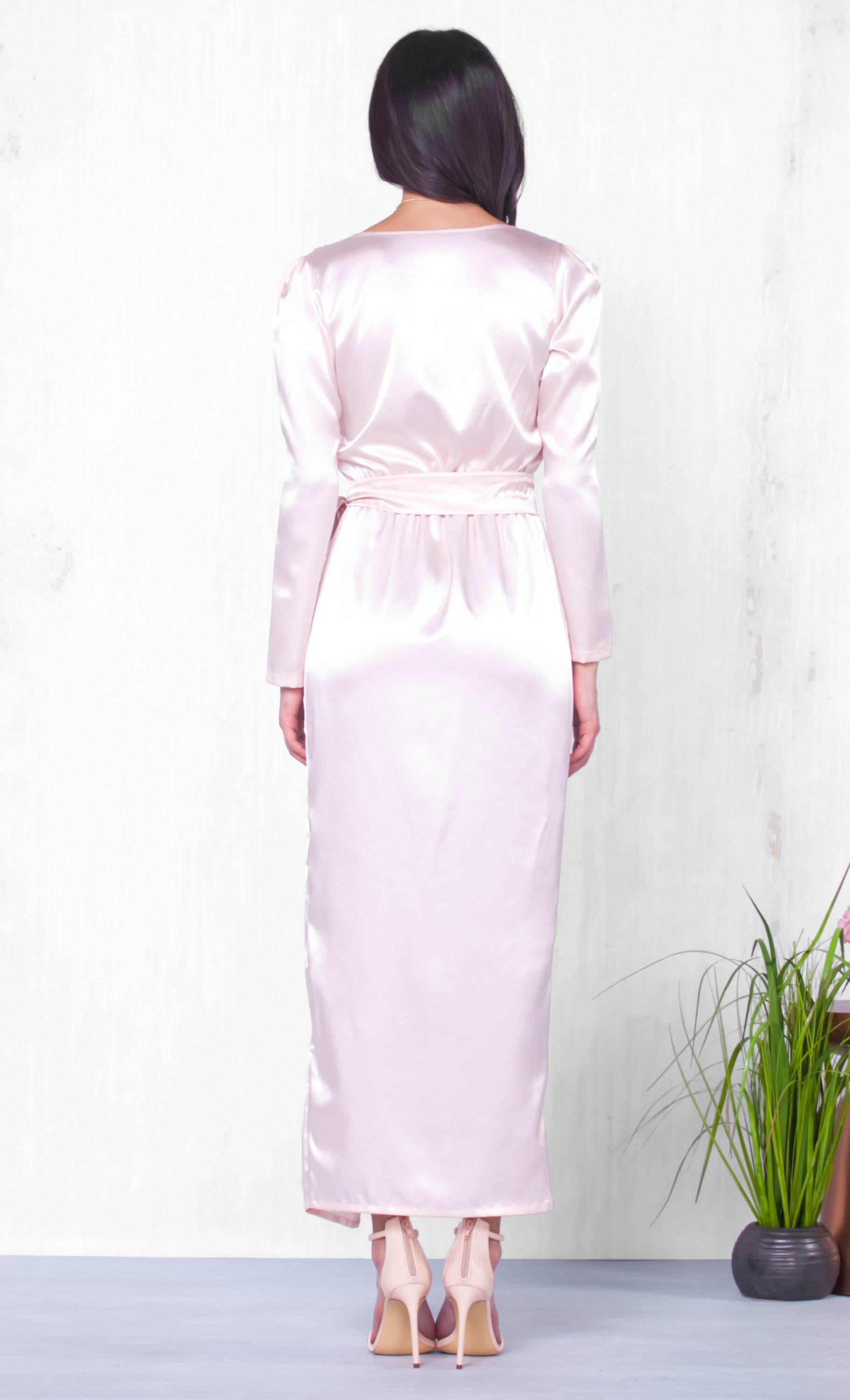 Indie XO Moonlit Soiree Pink Long Sleeve Wrap Silky Tie Waist V Neck Slit Maxi Dress Evening Gown - Almost Gone