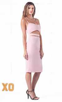 Indie XO Seductive Tease Pink Spaghetti Strap V Neck Cut Out Waist Zip Back Bodycon Midi Dress - Back in Stock - Sold Out