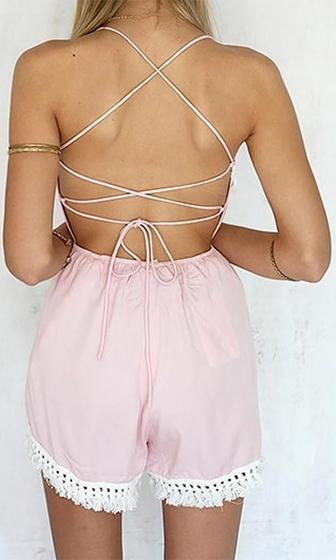 New Plan Pink White Spaghetti Strap Scoop Neck Crochet Tassel Fringe Trim Backless Chiffon Romper Playsuit - Sold out