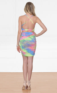 You're My Exception Pink Yellow Blue Tie Dye Spaghetti Strap Cross Wrap Crop Halter Tulip Bodycon Mini Skirt Two Piece Dress - Sold Out
