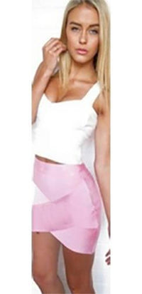 Light Pink Bodycon Wrap Sexy Zip Back Tulip Bandage Mini Skirt - Sold Out