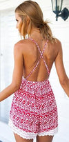 Prairie Song Fuchsia Pink White Geometric Lace Trim Spaghetti Strap Cross Back V Neck Halter Short Romper - Sold Out