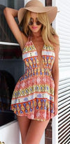 On Top Of The World Pink White Blue Yellow Green Geometric Spaghetti Strap Plunge V Neck Backless Halter Mini Dress - Sold Out