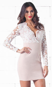 Indie XO Sweet Success Beige White Scallop Lace Long Sleeve Plunge V Neck Bodycon Midi Dress - Just Ours! - Sold Out