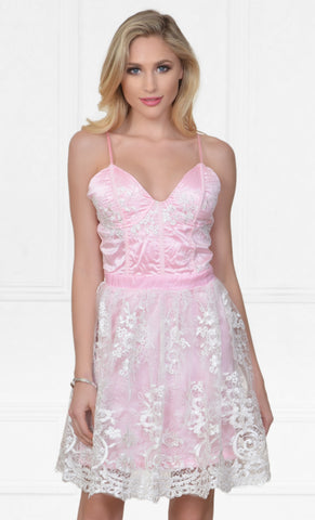 Loss For Words Pink Lace Floral Pattern Short Sleeve Off The Shoulder Sweetheart Neck Flare A Line Skater Mini Dress