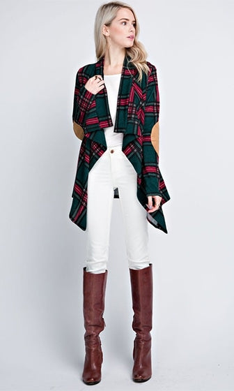 Fall Away Plaid Long Sleeve Elbow Patch Open Front Jacket - 2 Colors Available (Pre-Order)