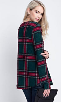 Check Mate Plaid Long Sleeve Scoop Neck Tunic Top - 2 Colors Available - Sold Out