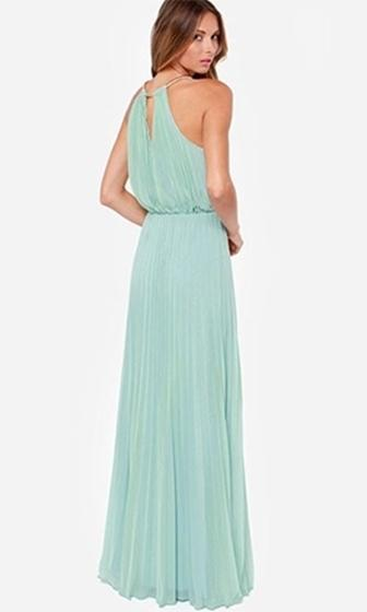 Make An Entrance Mint Green Gold Sleeveless Scoop Neck Pleated Halter Maxi Dress