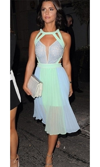 Mint Green Light Blue Beige Cut Out Sleeveless Lace Halter Color Block Pleated Panel Midi Dress - Inspired by Lucy Mecklenburgh - Sold Out
