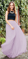 Princess For A Day Lavender Lilac Purple 7 Layer Pleated Elastic Waist Swiss Tulle Ball Gown Maxi Skirt - Sold Out
