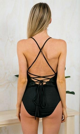 Gold Coast Black Lace Spaghetti Strap Plunge V Neck X Back Bodysuit- Sold Out