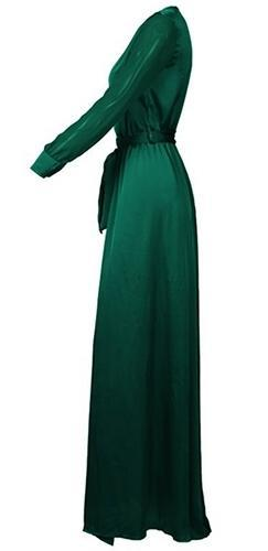 Loving the Limelight Emerald Green Long Loose Sleeves Plunge V Neck Tie  Waist Slit Front Maxi 88e937615